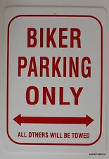 New Plastic Parking Sign Biker Only Bar Motorcycle Decor Others Towed