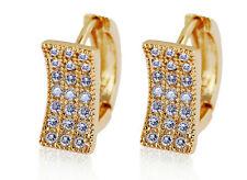 18 k Gold Plated Jewellery Small Girls Women White Zircons Hoops Earrings E707