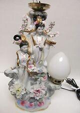 "Vintage Chinese Oriental Japan Geisha Table Lamp Porcelain Floral 16"" Electric"