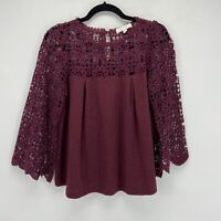 Anthropologie Eri and Ali Burgundy Lace Crochet Button Keyhole Swing Top XS