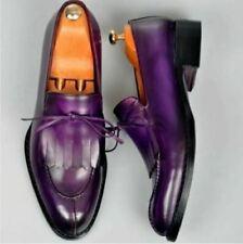 Handmade Men Oxford Fringe Purple leather party shoes Purple leather dress shoe