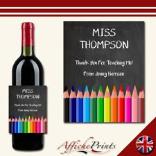 L137 Personalised Teacher Thank You Chalk Board Style Great Custom Bottle Label
