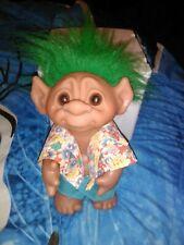 Vintage Troll Doll Thomas Dam 1977 Hawaiian Shirt Green Hair Rare Figure