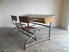 Exklusive Schulbank Bank FRANKREICH Tisch Table Desk Stahlrohr 50er 50s