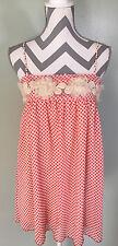 KARLIE White Red Polka Dot Floral Spaghetti Strap Sleeveless Ruched Dress Size S