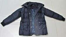 WOMENS NAVY BLUE BETSEY JOHNSON PUFFER JACKET COAT SIZE SMALL FEATHER LEOPARD