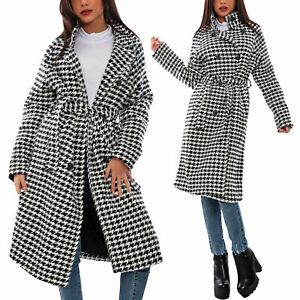 Cappotto lungo oversize donna giacca pied de poule cintura TOOCOOL VI-0412