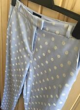 TOPSHOP ladies pastel blue tailored high waist skinny polka dot trousers Size 10