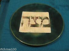 Hand Made Jewish Passover Matzah Plate Green Enamel on Copper Judaica Israel