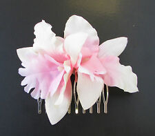 Blush Pink White Orchid Flower Hair Comb Bridesmaid 1950s Rockabilly Floral 699