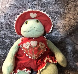 Hallmark Valentines Bunnies By The Bay Frog Lily Pond 2002 Plush Stuffed Doll