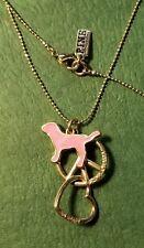 "Victoria's Secret PEACE LOVE PINK DOG HEART Gold CHARM PENDANT 30"" NECKLACE"