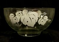 Vintage Anchor Hocking Clear Glass Punch Bowl With Grape Leaf Motif & Gold Rim