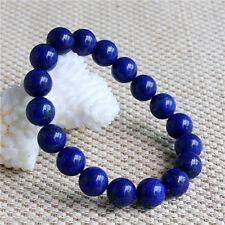 Vintage 12mm Natural Indigo Lapis Lazuli Round Gemstone Stretchy Bangle Bracelet