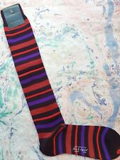 New & Lingwood Men's Medium Wool Long Length Socks Italian Multi Stripe Burgundy