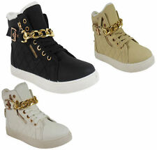 Wedge 100% Leather Lace Up Trainers for Women