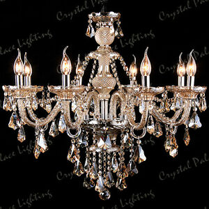 Genuine K9 Crystal Chandelier CHAMPAGNE 2, 6, 8,10,12,15, 18, 24, 32 Arms