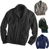 Winter Men's Sweater Solid Color Long-sleeved Lapel Cardigan Jacket Sweater Coat