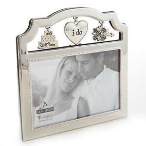 I Do Wedding Picture Frame Anniversary Gift Silver Charms Cake Flowers Brand New
