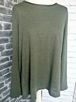 Primark Long Jumper High Low Olive Green Size L Long Sleeve Round Neck