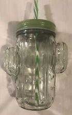 Cactus Mason Jar Drinking Mug Large Glass Straw Lid Tumbler Great Gift! GLOBAL!