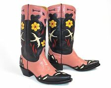 Old Gringo Bluebird Cowboy Boots - Wms 7B - Inlay Golondrita Golondrina Vtg Pink
