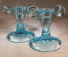 "FOSTORIA GLASS JUNE AZURE BLUE #2395-1/2 5"" TALL GRECIAN SCROLL PR CANDLESTICKS!"