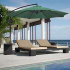 10' Ft Green Patio Umbrella Outdoor Pool Bar Sun Shade Offset Hanging Umbrella