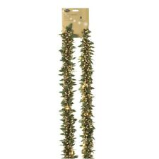 200cm Gold Holly Pre Lit Tinsel Garland with Lights - Christmas Tree Decoration
