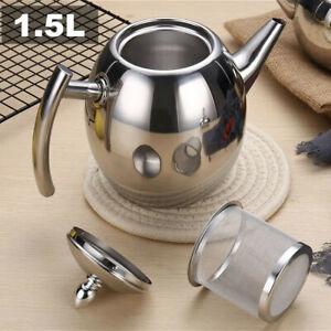1.5L Teekanne Teebereiter mit abnehmbare Edelstahl-Sieb Edelstahlkanne