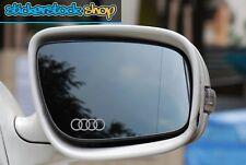 Anillos de Audi con el logotipo grabado de cristal efecto espejo de ala de coche calcomanías Autoadhesivos x2