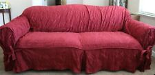 Sure Fit Sofa  Slipcover Matelasse Damask Chili 1 Piece Box Cushion Relaxed