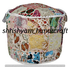 Indian Pouf Cover 22'' Cotton Ottoman Handmade Sari Patchwork Floor Sofa Throw