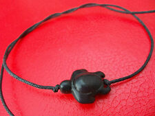 KARMASTRING black string tie on bracelet / anklet black howlite turtles beached