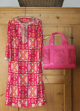 Tory Burch~ Hot Pink/Orange~ Dress w Matching Large Tote~ 100% Cotton~ Sz 10~EUC