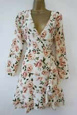 RIVER ISLAND IVORY FLORAL SKATER TEA DRESS SIZE 10 WRAP FRONT SLIT SLEEVES