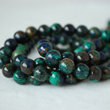 Grade A Natural Azurite Semi Precious Gemstone Round Beads - 8mm - Approx 15.5""