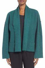 Eileen Fisher Evergreen Boiled Merino Wool Kimono Jacket Size Small