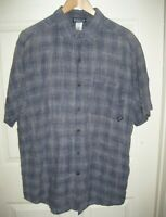 Patagonia Men's Hemp Gray White Plaid Button Down Short Sleeve Shirt Medium M