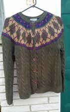 Pendleton sweater sz.M cardigan argyle bib chucky cable knit moss green,plum,tan