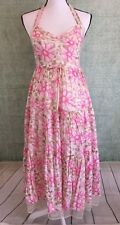 Free People Women's Dress Halter Floral Tiered Layered Lace Tulle Trimmed Size 8