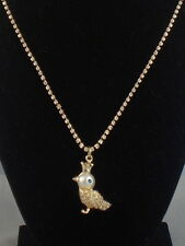 Betsey Johnson Gold PEARL CRITTERS Rhinestone Cup Chain Bird Pendant Necklace