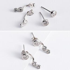 Ear Jackets Doppel Ohrstecker Zirkonia Rund echt Sterling Silber 925