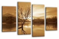 Brown Cream Landscape Wall Art Canvas Sepia Grey Lake Trees 4 Panel Picture