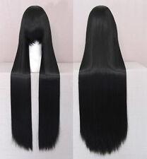 100CM Long Straight Anime Wigs Black Full Hair +Hairnet Cosplay Party Full Wig