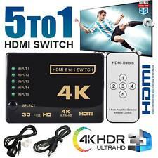 More details for 4k hdmi switch switcher selector 5 port splitter hub ir remote for hdtv 3840p uk
