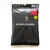 Uniqlo Disney Mickey Stands Mens Black T-Shirt Short Sleeve Chest Pocket 2XL