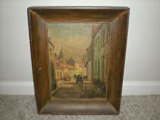 """Vintage Old Oil Painting Art Of City Town Frame 17"""" By 13"""""""