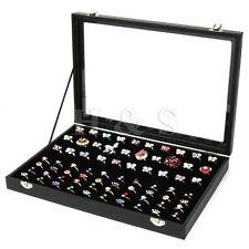 Tapa de vidrio de calidad superior 100 Anillo Joyería Pantalla almacenamiento caja bandeja Estuche Organizador