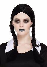 Halloween Fancy Dress Vestito Nero Parrucca Spaventoso Costume da bambina NUOVO